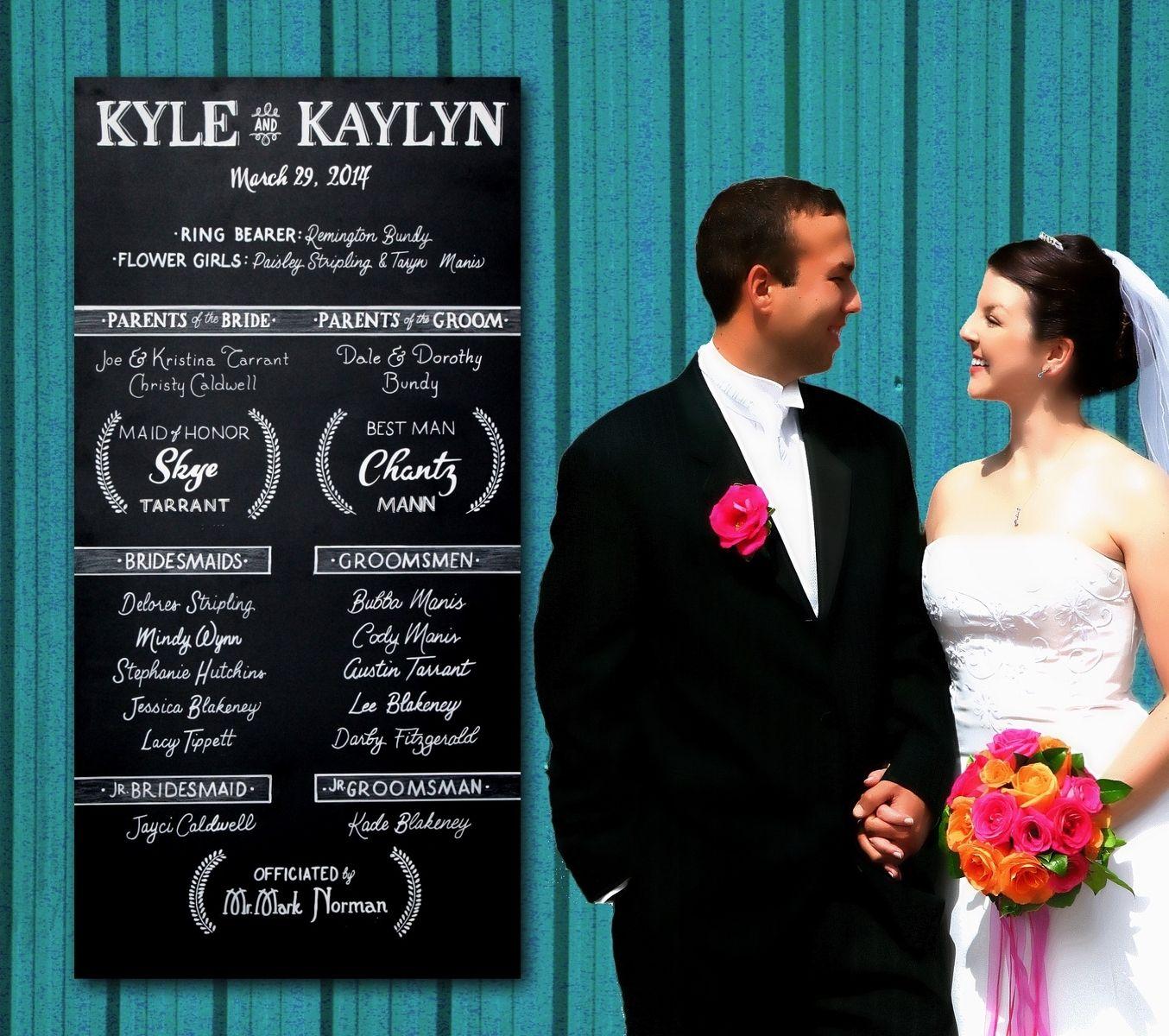 Custom Made Wedding Program Chalkboard Sign