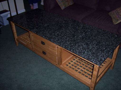 Custom Made Granite / Fumed Oregon Oak Coffee Table
