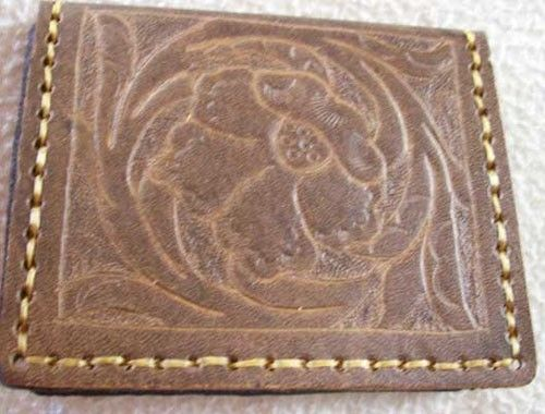Custom Made Custom Leather Id Wallet With Sheridan Design In Weathered Color