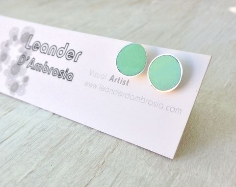Custom Made Stud Post Earrings Mint Green Made With Sterling Silver And Resin - Teal Aqua Studs