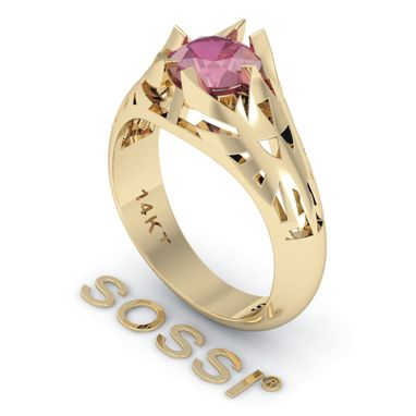 Custom Made Legend Of Zelda Zoras Engagement Ruby 1.02 Ct Yellow Gold Ring
