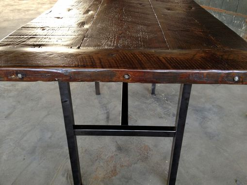 Hand crafted reclaimed wood kitchen table with steel legs and iron reclaimed wood kitchen table with steel legs and iron stakes workwithnaturefo