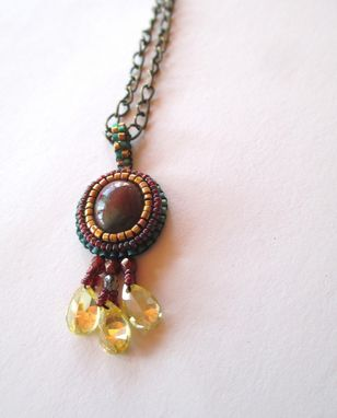 Custom Made Beaded Pendant With Stone And Glass