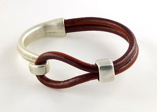 Custom Made Burgundy Leather Cuff Bracelet With Antique Silver