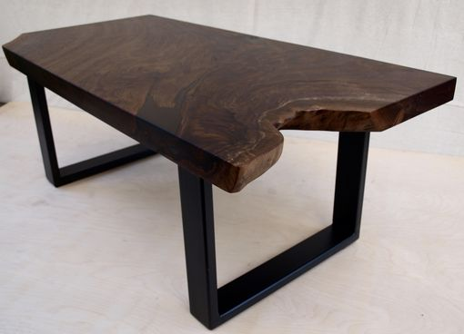 Custom Made Walnut Coffee Table With Steel Base