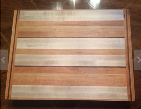 Custom Made Butcher Block Cutting Board Made From Tiger Maple, Cherry And Walnut