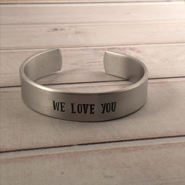 Custom Made Custom Stamped 1/2 Inch Wide Cuff Bracelet Personalized With Your Choice Of Text