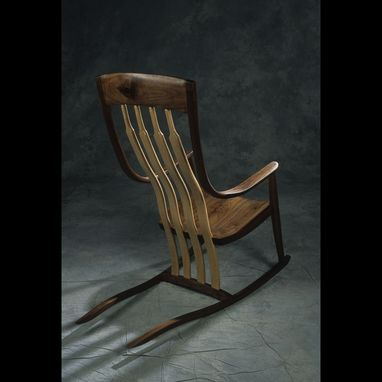 Custom Made Walnut/Curly Maple Rocking Chair