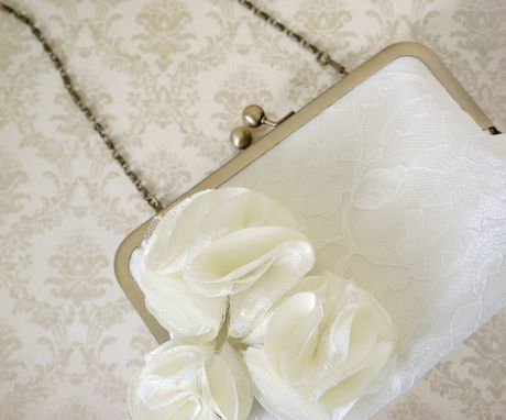 Custom Made Bridal Clutch Purse In Ivory Lace With Pom Pom Flowers