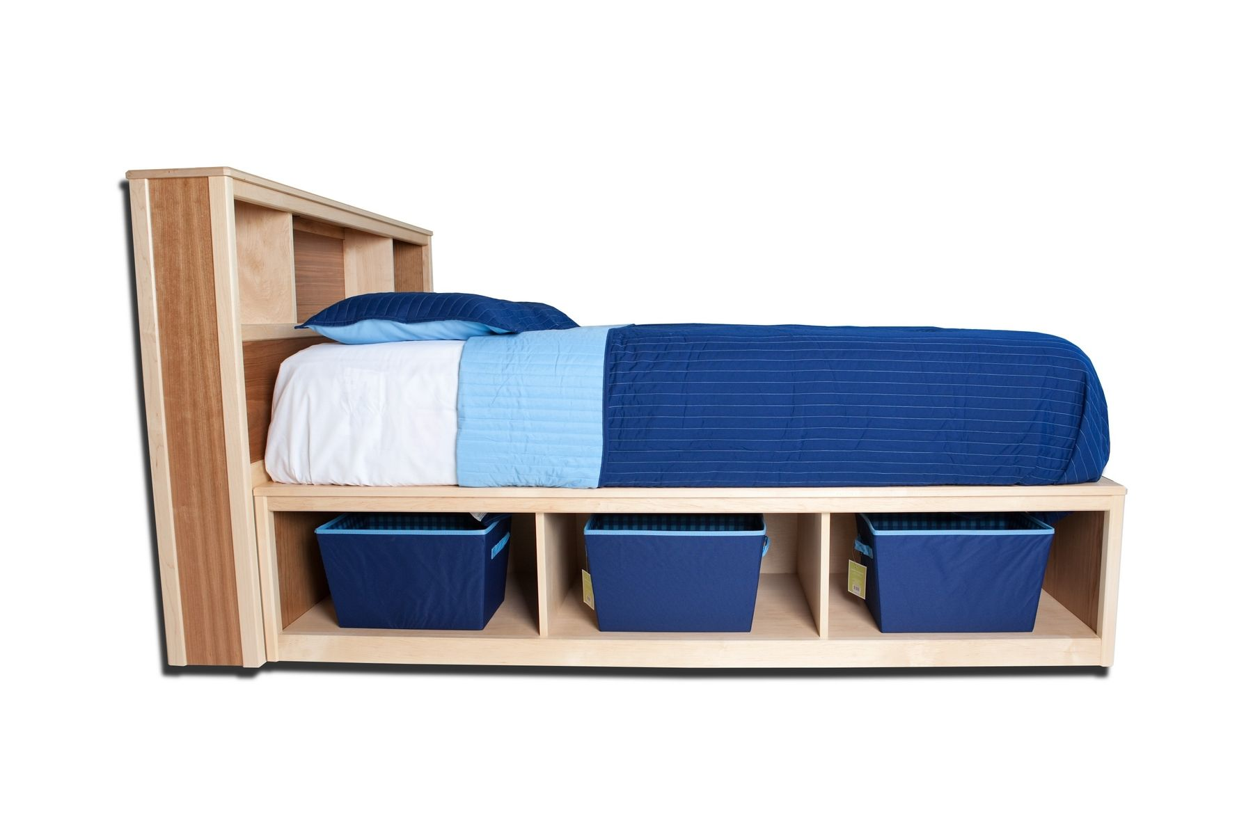 Modern twin bed with storage - Hand Made Full Bookcase Headboard With Storage Drawers By Sahn Lee