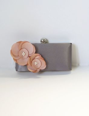 Custom Made Gray Clutch Purse With Handmade Flower Accents
