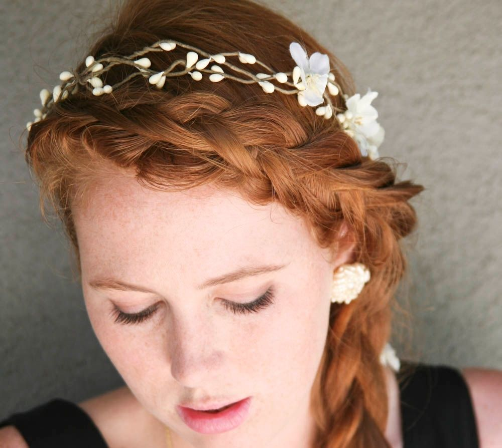 Rustic Wedding Hairstyles: Hand Made Wedding Hair, Rustic Bridal Wreath With Flowers