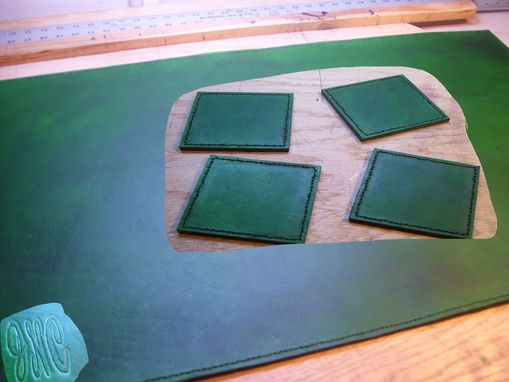 Custom Made Custom Leather Deskmat & Coaster Set