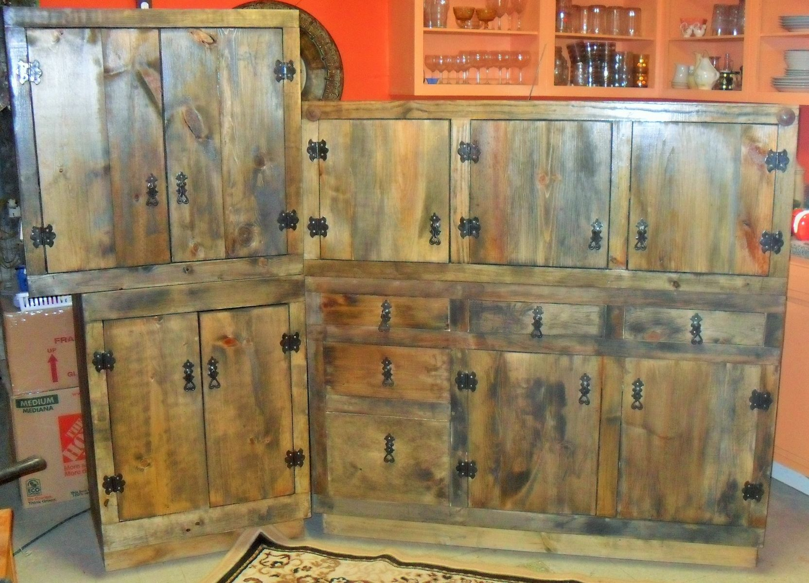 Hand made rustic kitchen cabinets by the bunk house studio for Rustic white kitchen cabinets