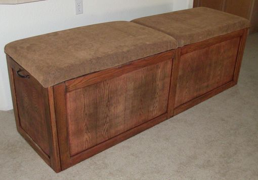 Custom Made Oak Bench With Cushions And Storage