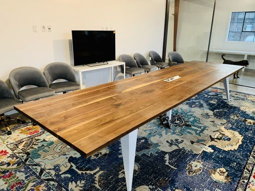 Custom Made Solid Walnut And Metal Powder Coated  Conference Table