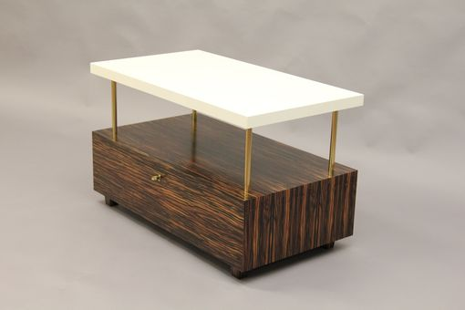 Custom Made Macassar Ebony, Parchment And Brass Nightstand.