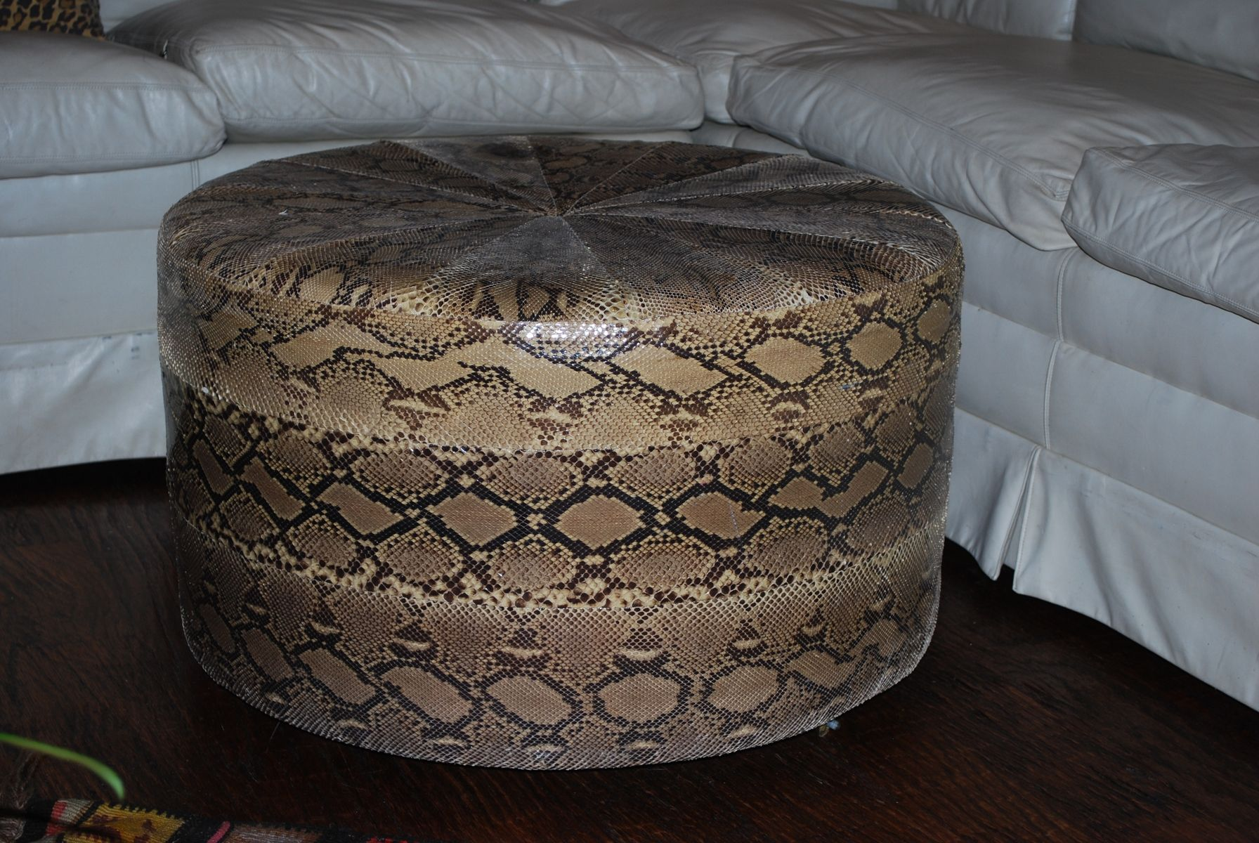 Handmade Exotic Hide Natural Python Ottoman By Sherry