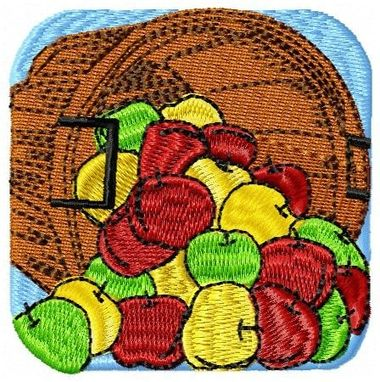 Custom Made Basket Of Apples Embroidery Design