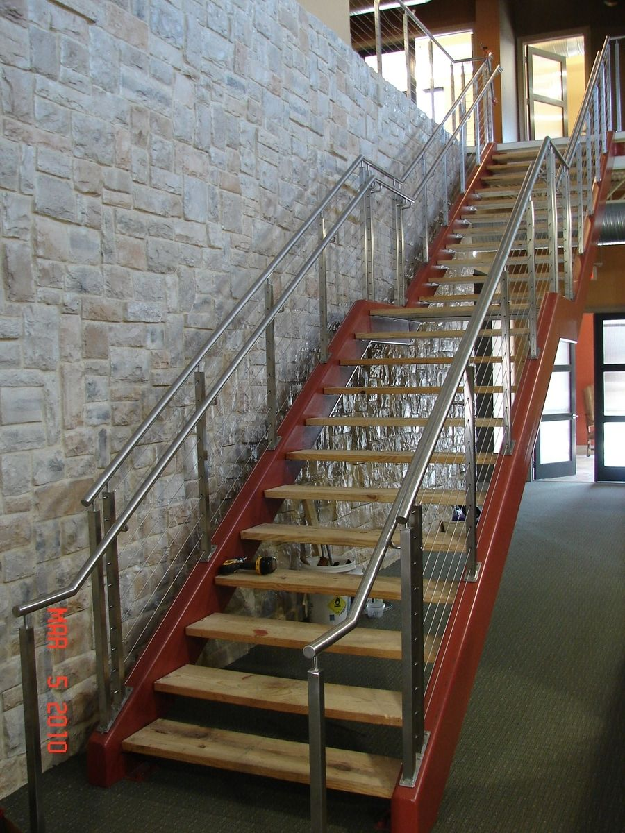 custom made steel tube stair stringer w/ stainless steel cable