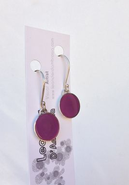 Custom Made Dangle Earrings Resin Inlay - Mauve Long Pastel Purple Curtain Hook Earrings
