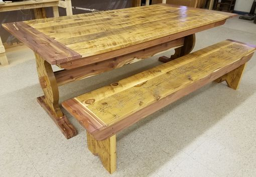 Custom Made Cedar And Barnboard Dining Table With  Benches