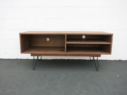 Custom Made Modern Walnut Media Center With Hairpin Legs
