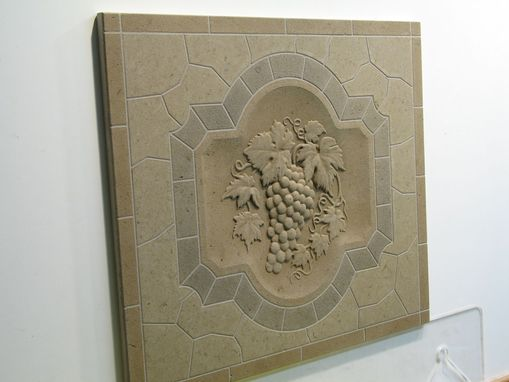 Custom Made Limestone Classic Grape Relief Monolithic Mosaic Back Splash Decorative Tile Insert