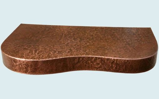 Custom Made Copper Countertop With Curved Shape & Hammering