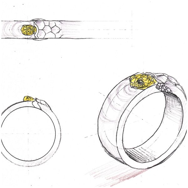 Design sketch for a men's wedding band with a surfacing turtle creating ripples.