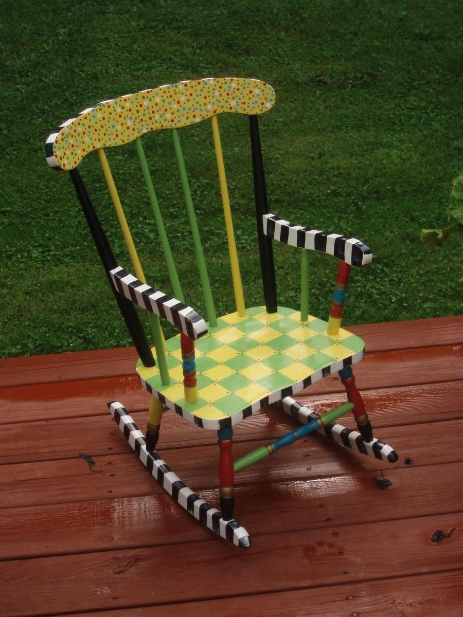 Hand Crafted Painted Childs Rocking Chair Custom