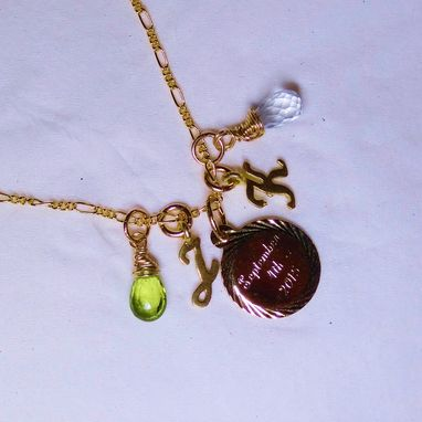 Custom Made Wedding Or Bridal Necklace, Engraved Charm With Birthstone Teardrops In Gold Or Silver