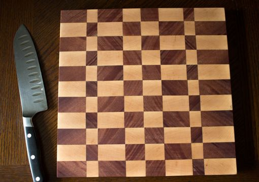 Custom Made Maple, Mahogany, And Walnut Checkered Cutting Board