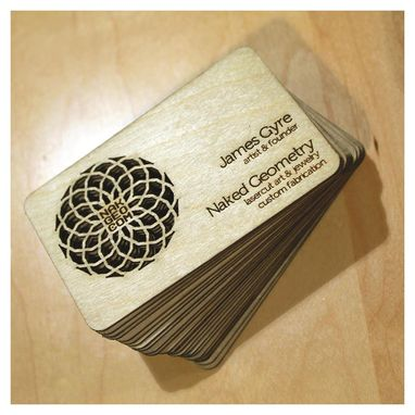 Hand crafted wooden business cards by naked geometry custommade custom made wooden business cards colourmoves