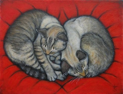 Custom Made Commission An Oil Painting Of Your Cat Family