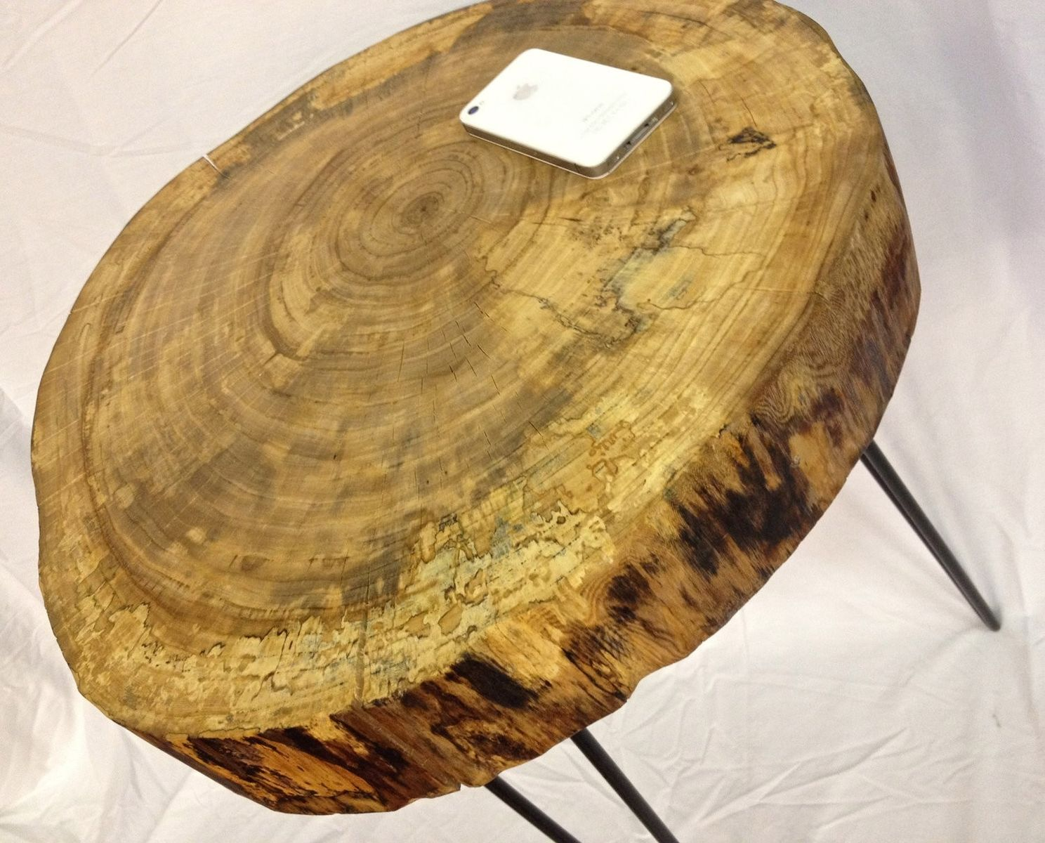 2d4d4d25ffdfa Custom Made Natural Live Edge Round Slab Side Table   Night Stand With Steel  Legs