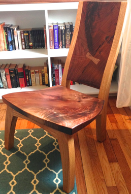 Custom Made Figured Walnut And White Oak Lounge Chair.