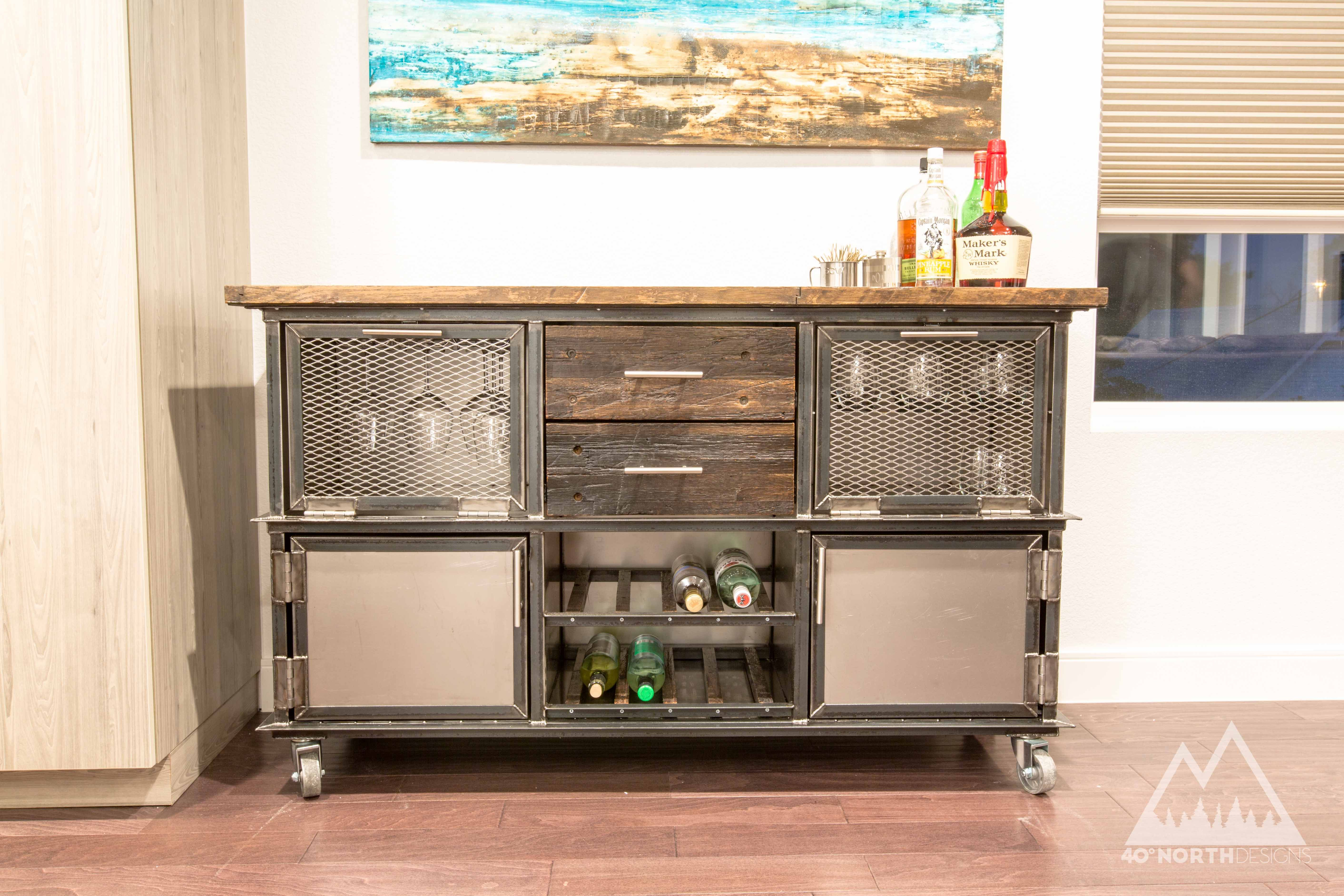 Buy Hand Crafted Modern Rustic Industrial Reclaimed Bar Cart Storage Unit Made To Order From 40 North Designs Custommade Com