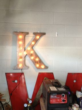 "Custom Made Marquee Lights Vintage Metal Letter Light Fixture 24"" Tall"