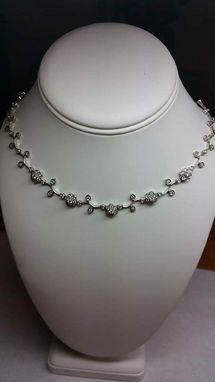 Custom Made Flower And Leafy Diamond Necklace