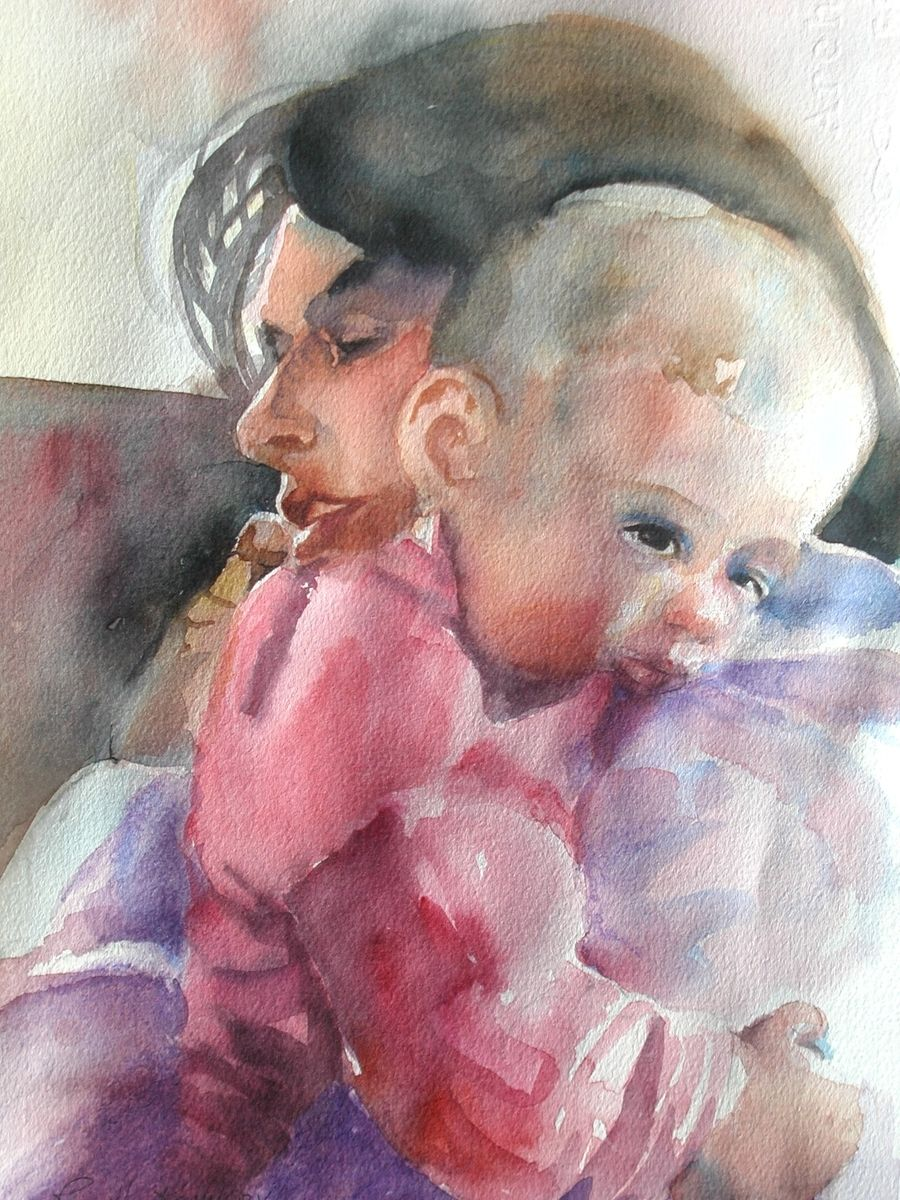 Custom Impressionist Watercolor Painting Of A Young Mother