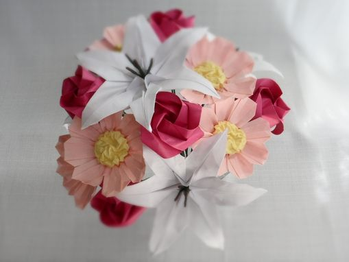 "Custom Made Origami Paper Flower Bouquet ""Sweetheart"" - Lilies, Roses, And Cosmos"