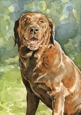 Custom Made Brown Lab Dog Watercolor Painting