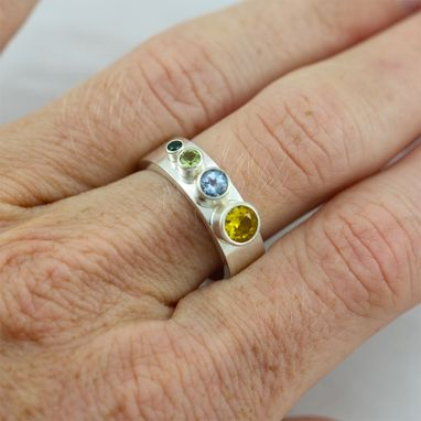 Custom Made 4 Stone Sequence Mother Ring In Sterling Silver