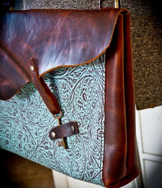 Custom Made Bison And Turquoise Leather Bag Made With Skeleton Key Closure