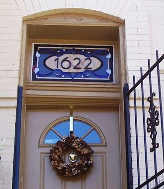 Custom Made Traditional Yet Contemporary Stained Glass Window Transom With House Number (Am-24)