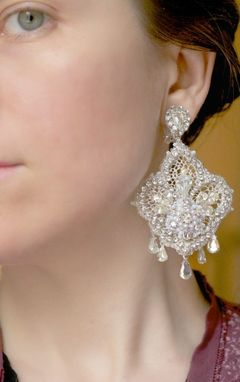 Custom Made Custom Lace Bridal Chandelier Earrings With Freshwater Pearls And Vintage Rhinestones