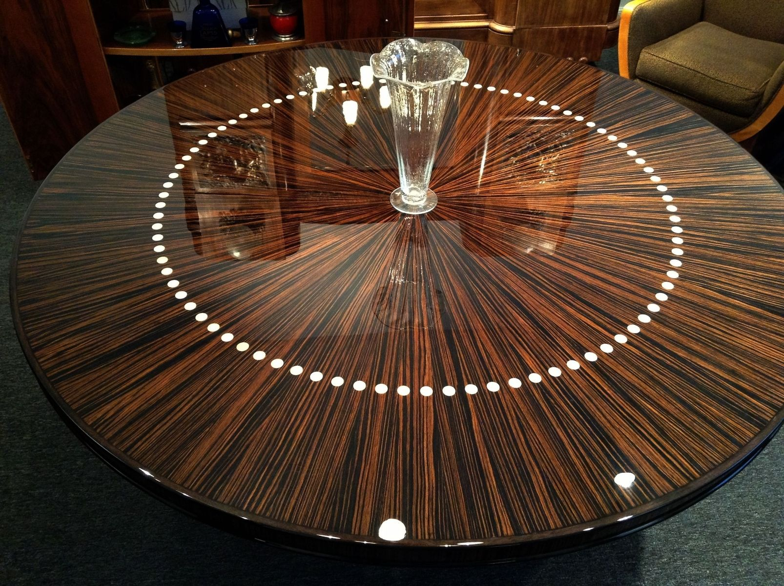 Custom Made Round French Modernist Dining Or Entry Hall Table