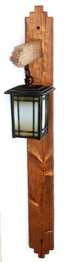 Custom Made Rustic Wood Lantern Pole, Wall Mounted