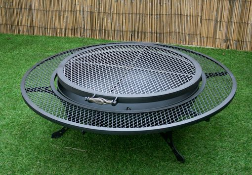 Custom Made The Rounder – Steel Fire Pit With Grill Top And Wraparound Shelf. Steel Yard Art, Modern Fire Pit